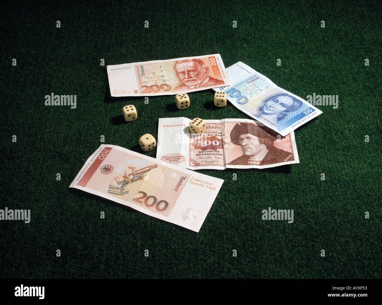Germany, German bank notes, dies, German currency, German money, DM, German marks, currency before the Euro - Stock Image