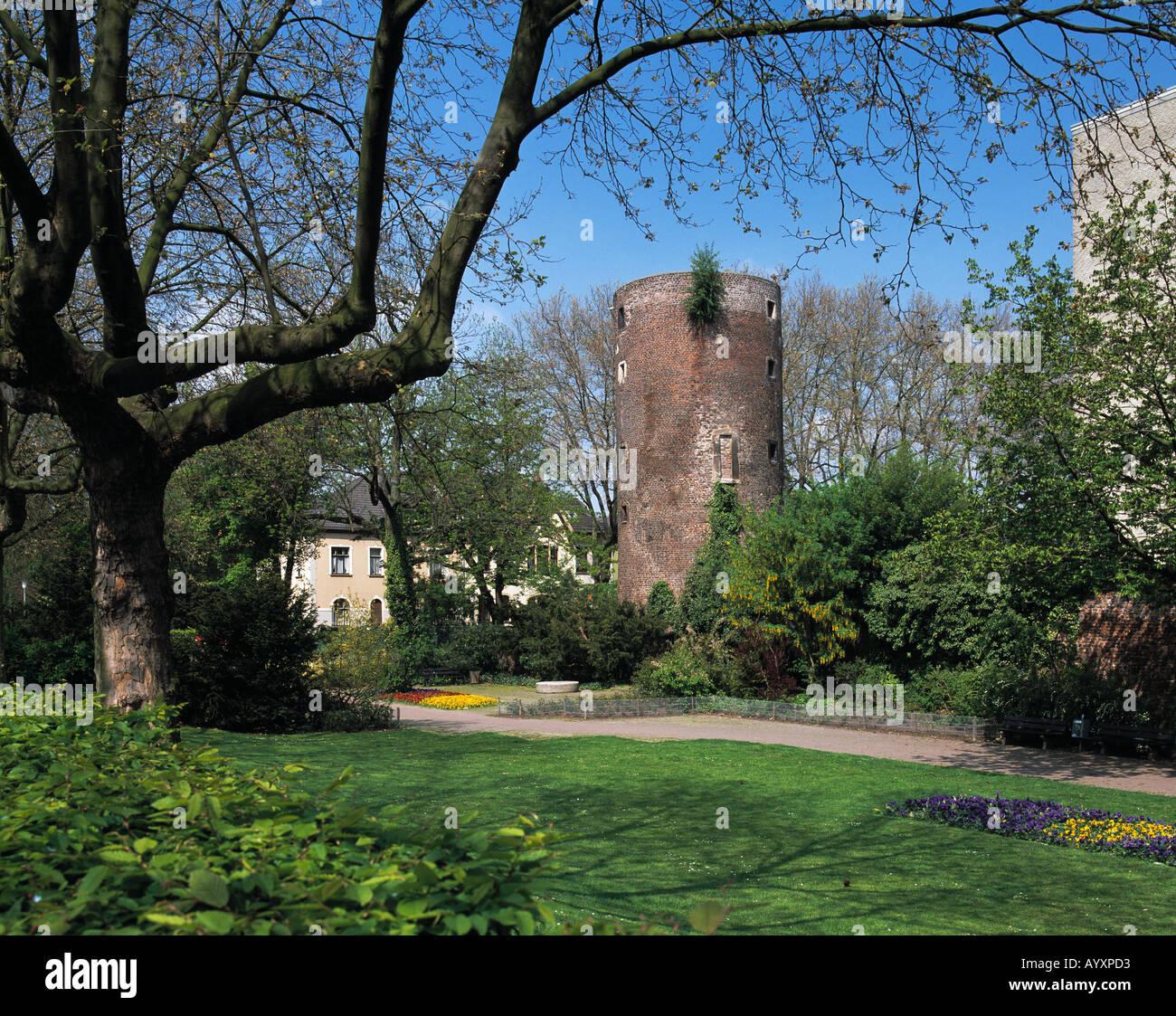 Stadtturm, Parkanlage, Fruehlingsstimmung, Krefeld-Uerdingen, Niederrhein, Nordrhein-Westfalen - Stock Image