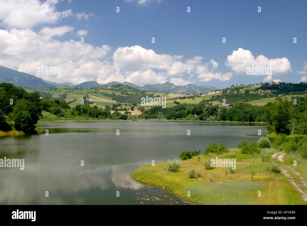 Landscape view of Lago San Rifino Le Marche Italy - Stock Image
