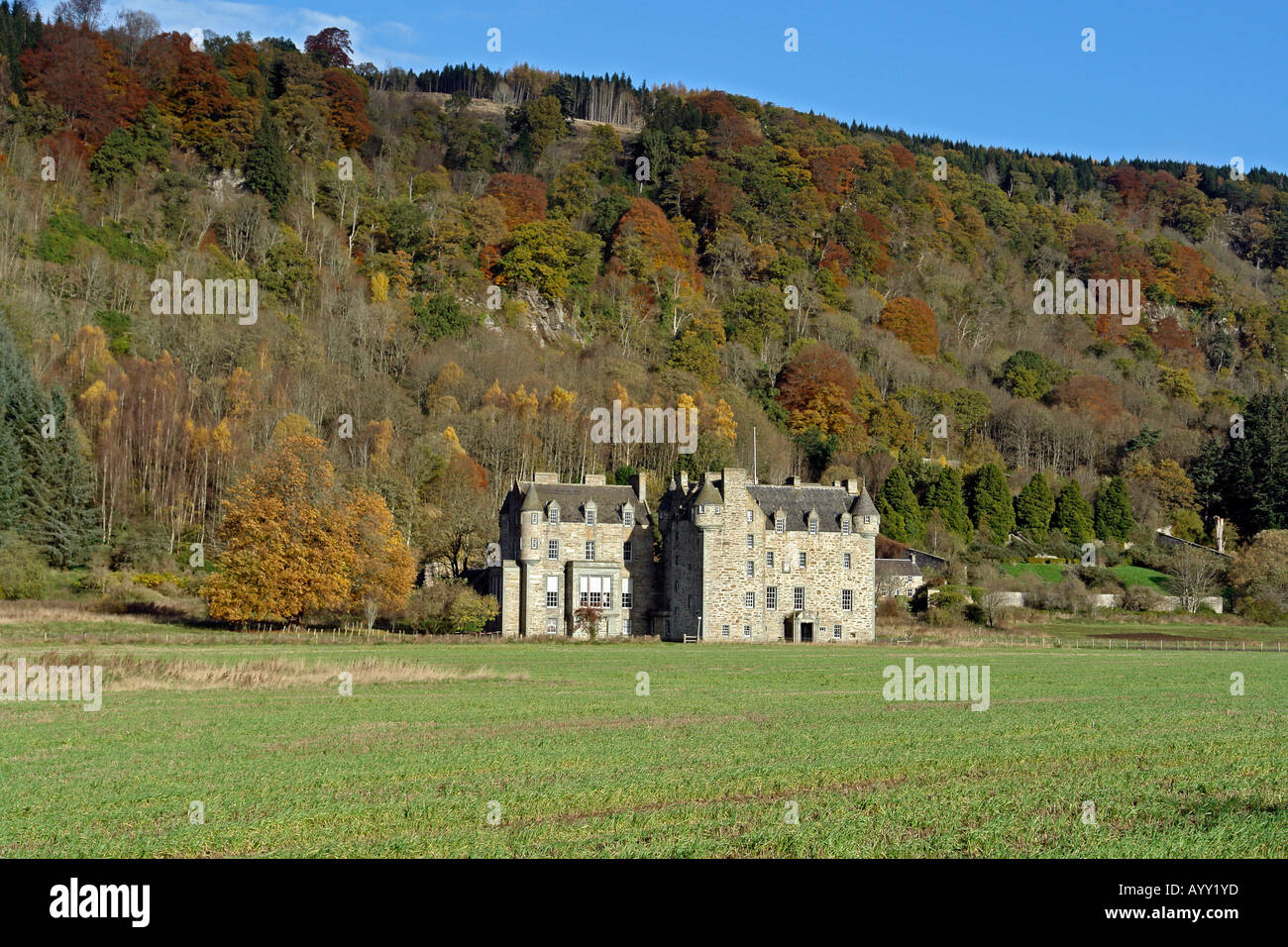 Castle Menzies home of the Clan Menzies outside Aberfeldy in Perthshire - Stock Image