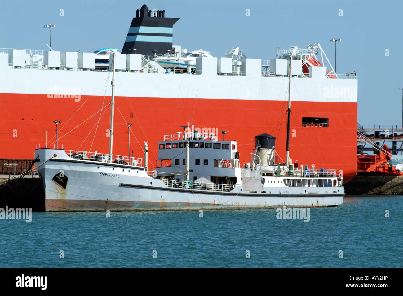SS Shieldhall a Former Sludge Carrying Ship now a tourist excursion vessel in the Eastern Southampton Docks England - Stock Image