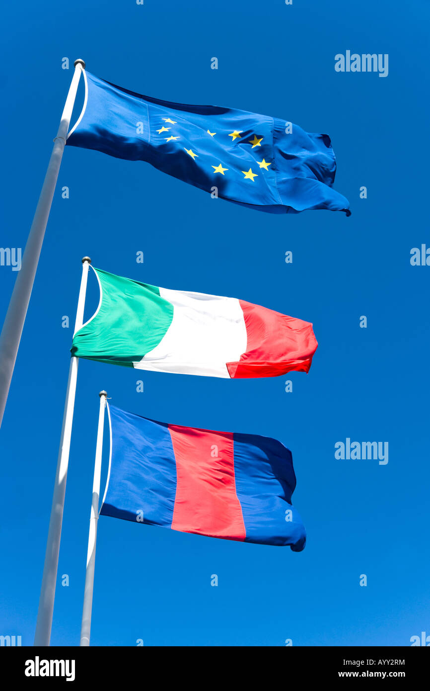 Italy and European union flags - Stock Image