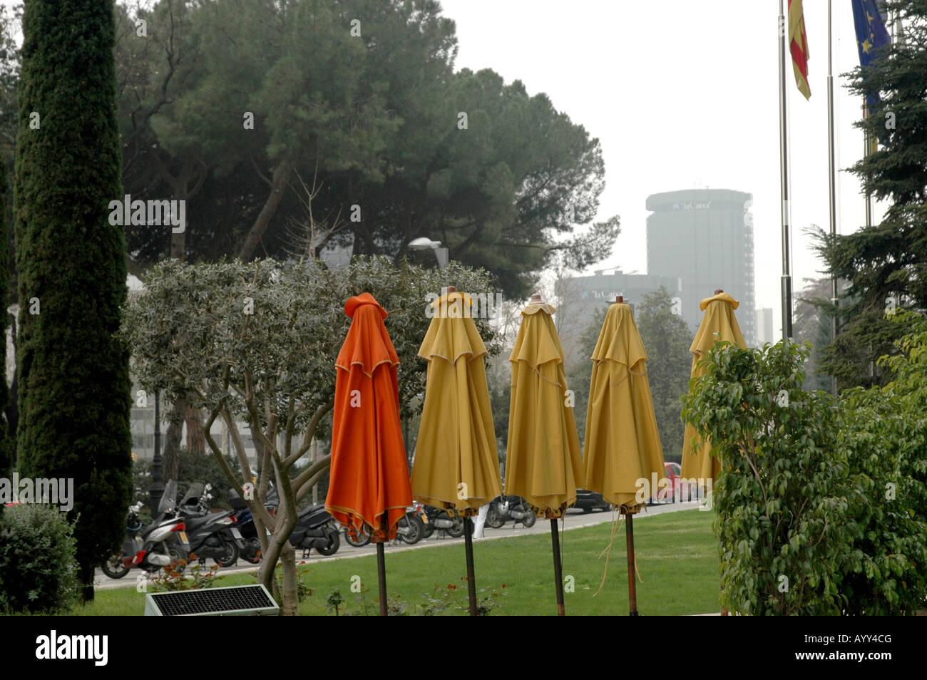 Stadt city town urban Sonnenschirme sunshades parasols Stock Photo