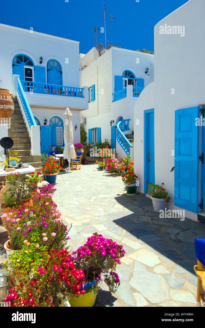 Santorini Patio Furniture: Apartment Patio And Pool Decor In The Village Of Fira On
