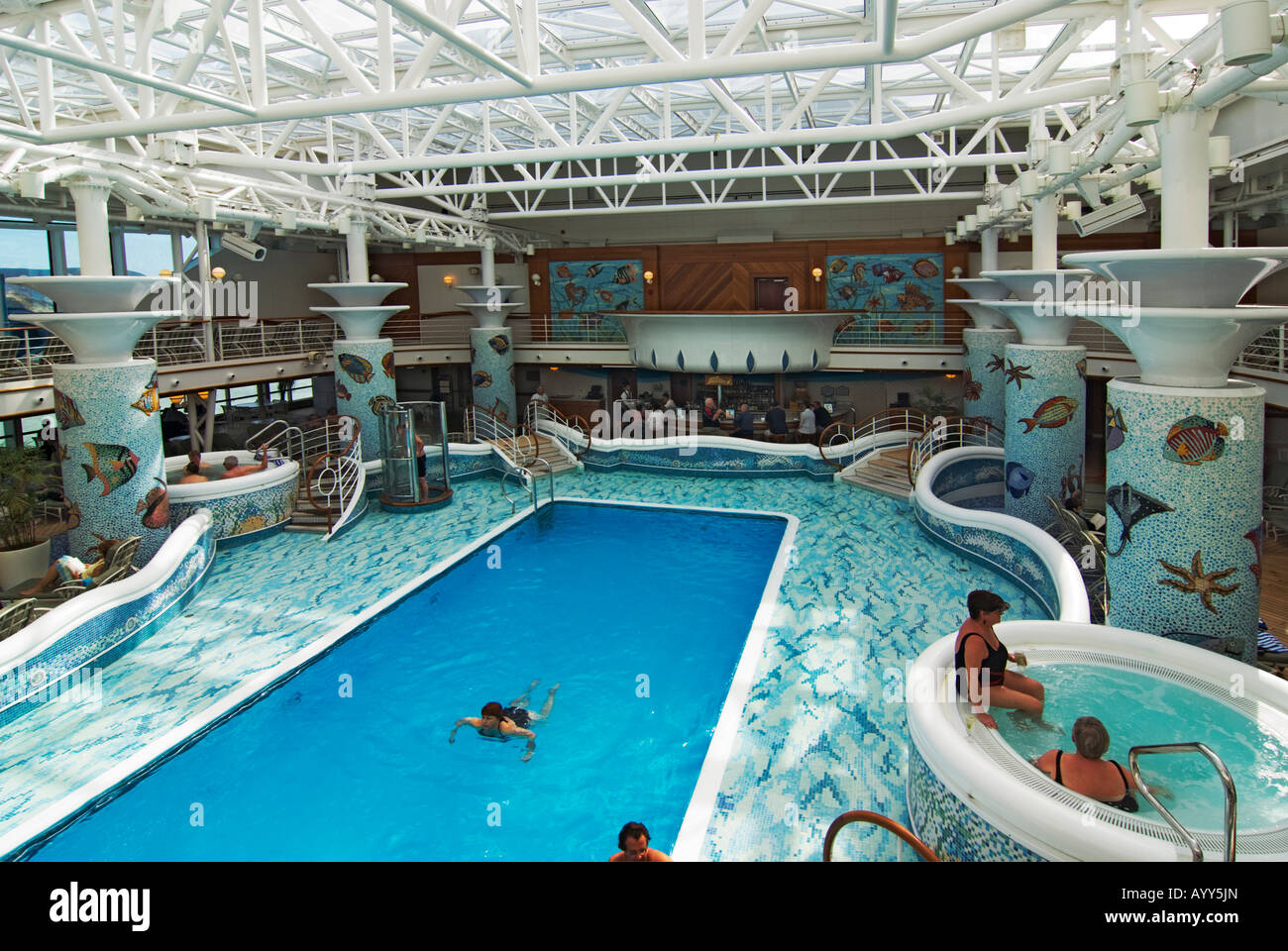 Covered swimming pool on board a cruise ship Stock Photo: 17202860 ...