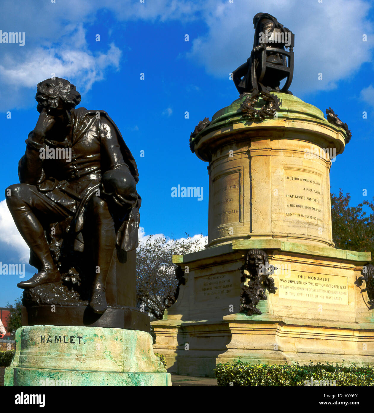 Shakespeare Monument with Hamlet at Stratford Upon Avon Warwickshire England - Stock Image