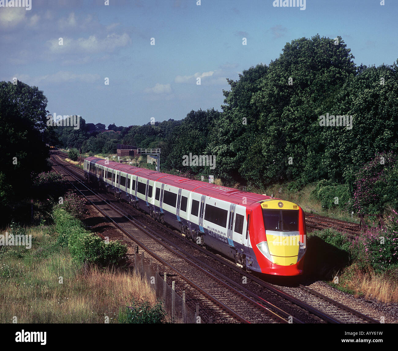A class 460 Juniper electric multiple unit working a Gatwick Express train service at Coulsdon. - Stock Image