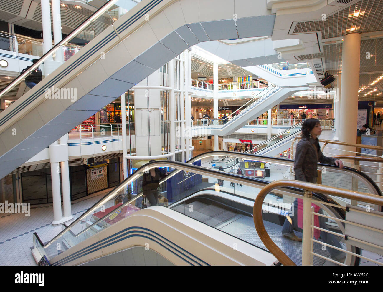Interior of Princes Quay shopping centre Hull East Yorkshire England UK - Stock Image