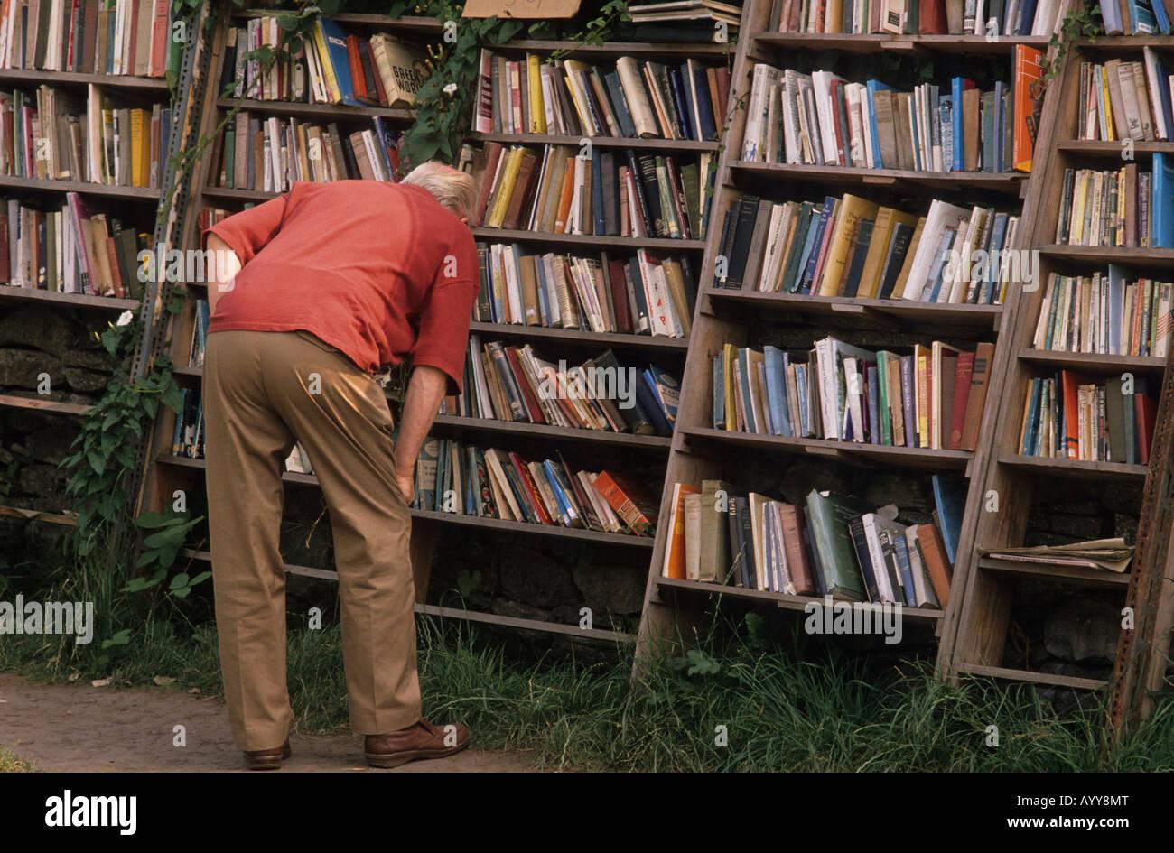 Outdoor bookshop, Hay on Wye Stock Photo