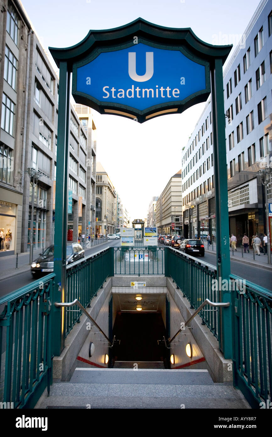 The Stadtmitte station entrance to the underground network in Berlin Germany - Stock Image