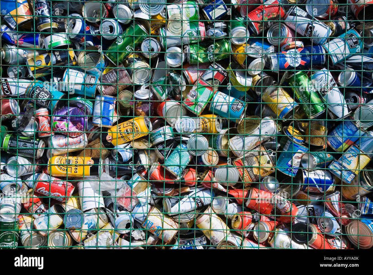 Used metal cans and tins - Stock Image