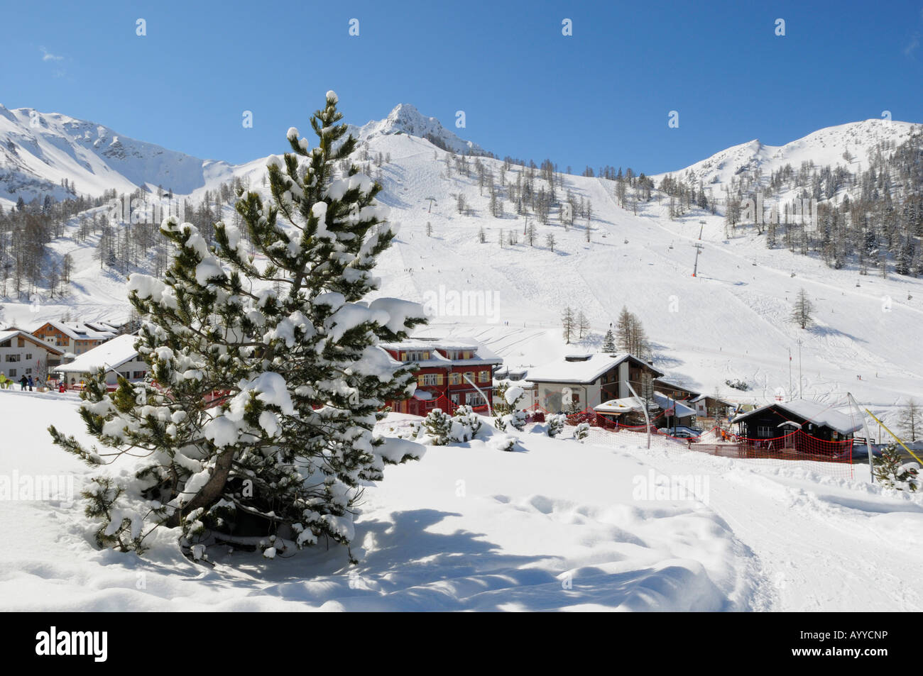 Winter in Malbun, Liechtenstein FL - Stock Image