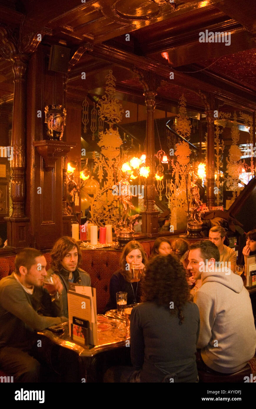 Inside the Salisbury Pub in St Martin's Lane, London England UK - Stock Image