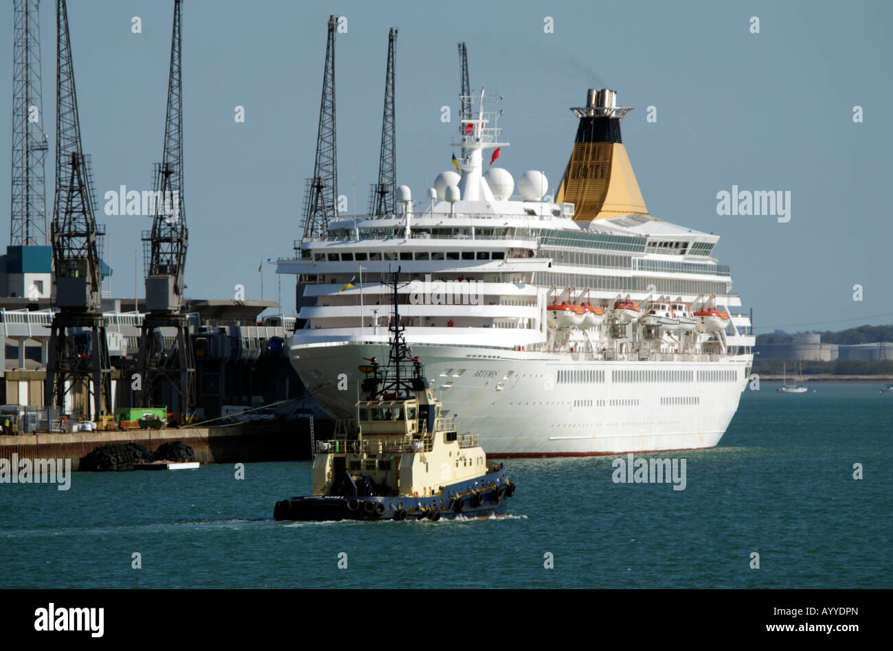 Artemis Cruise Ship Alongside on the Queen Elizabeth II Terminal in the Port of Southampton England - Stock Image