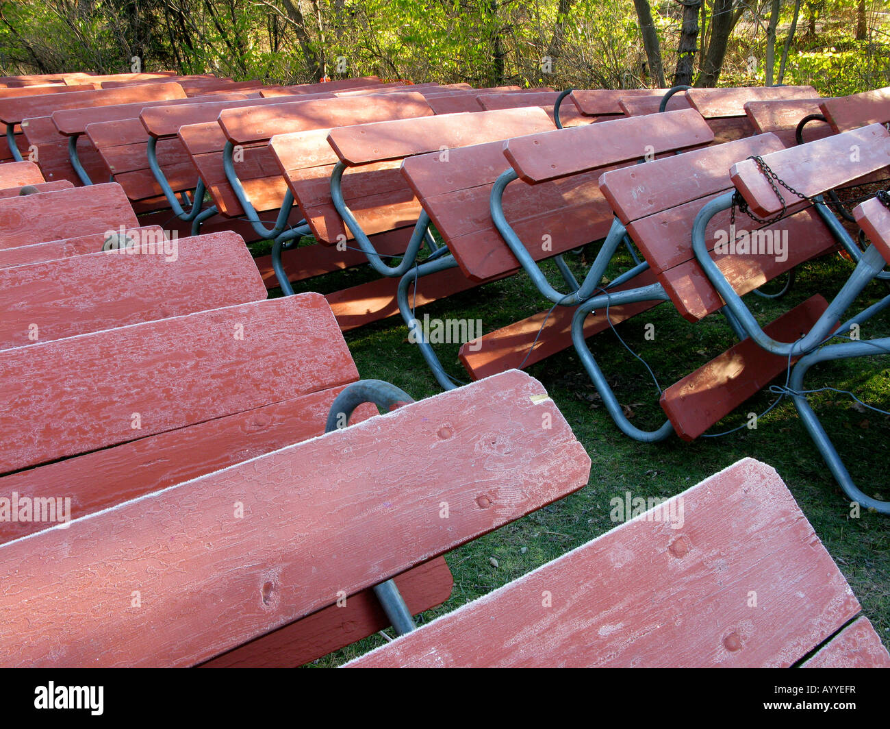 Picnic Tables Stacked And Stored For The Winter Stock Photo ...