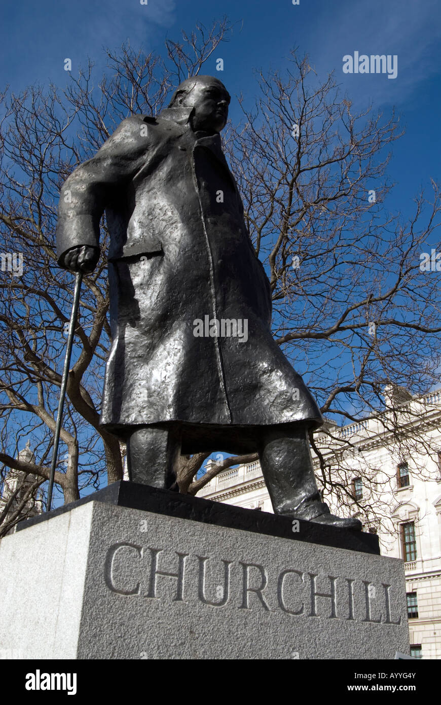 Statue of Winston Churchill in Parliament Square, London, England, UK - Stock Image