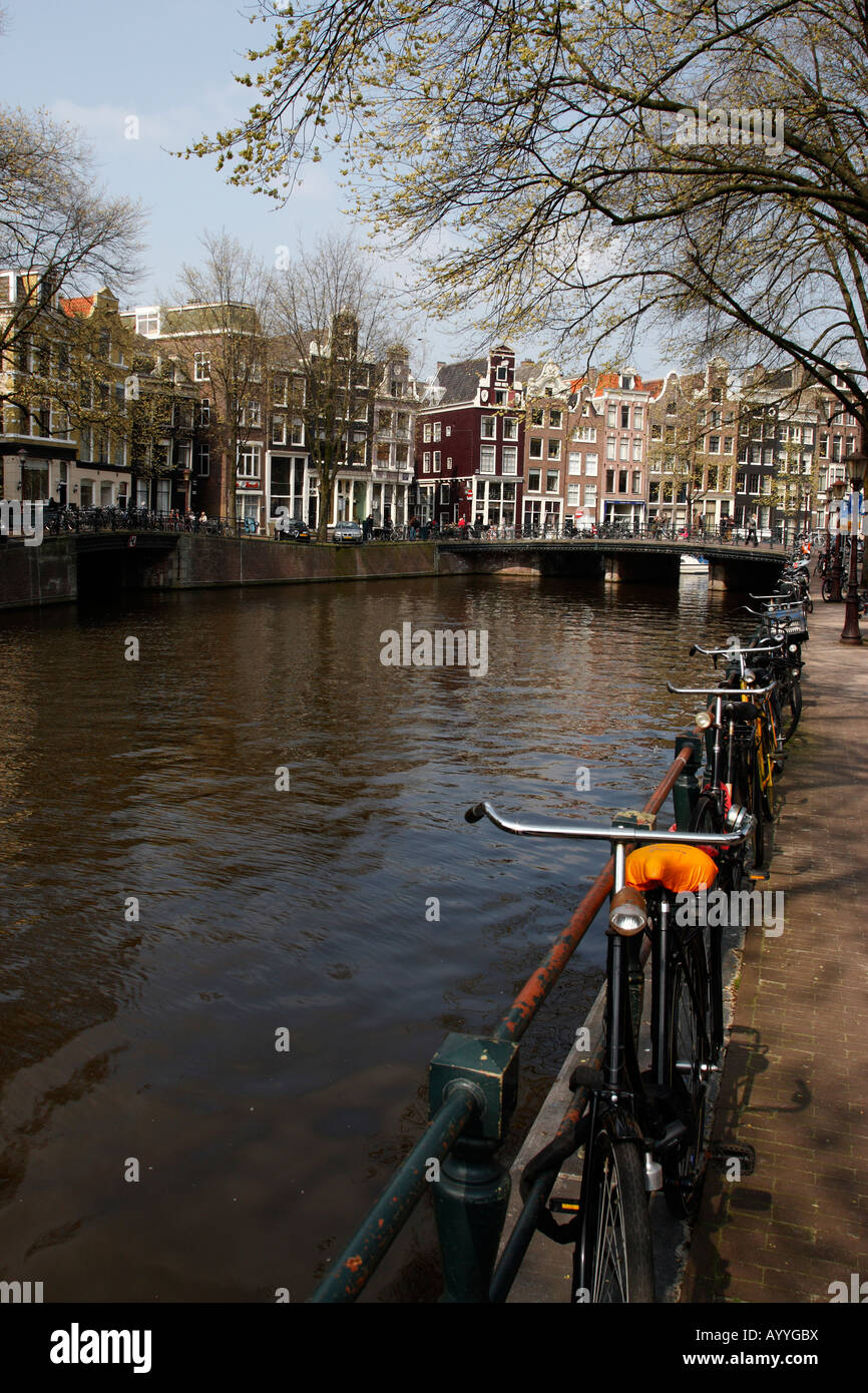 view towards singel within the eastern canal ring amsterdam netherlands north holland europe - Stock Image