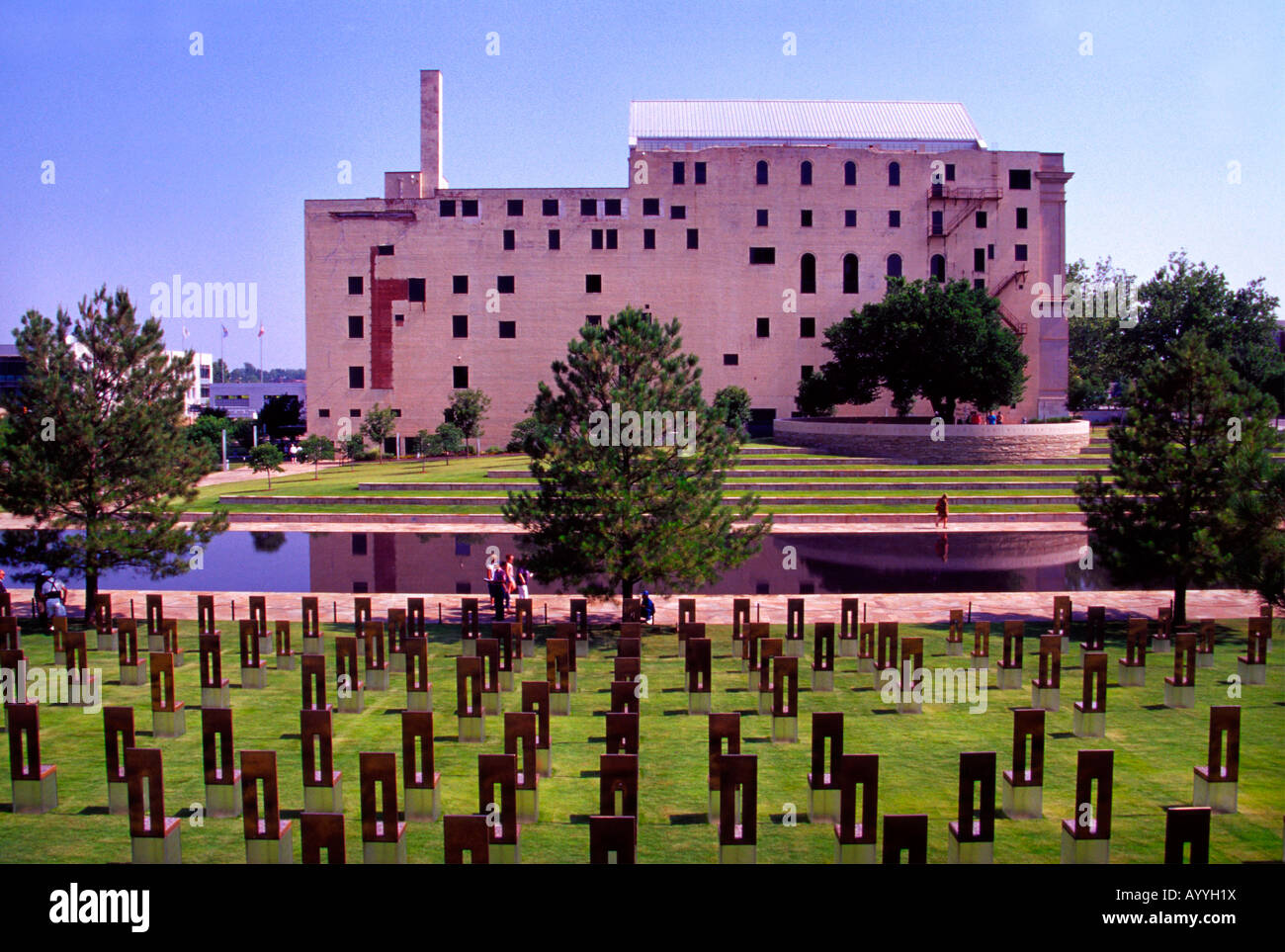 Oklahoma City Memorial and empty chairs created to honor those who died in the terrorist act by Timothy McVeigh Stock Photo