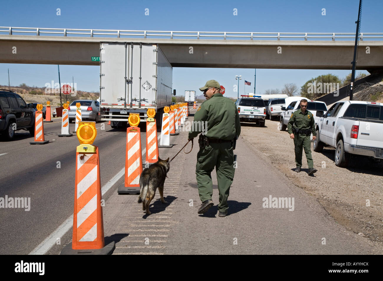 Us Border Patrol Checkpoint On Interstate Highway In Arizona Stock Image