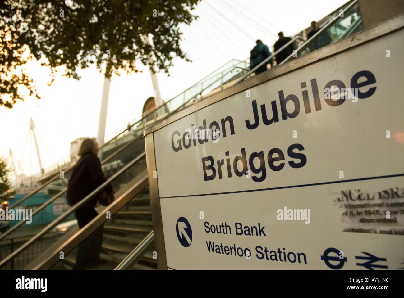 Golden Jubilee Bridges street sign London England - Stock Image