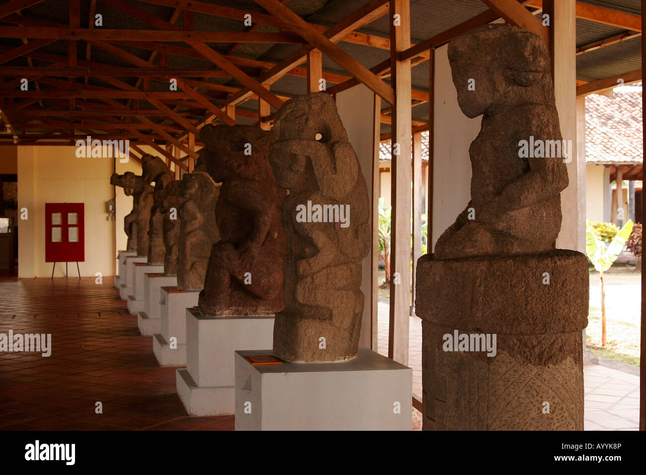 precolumbian statues in the museum San Francisco Convent Cultural Center in Granada Nicaragua - Stock Image