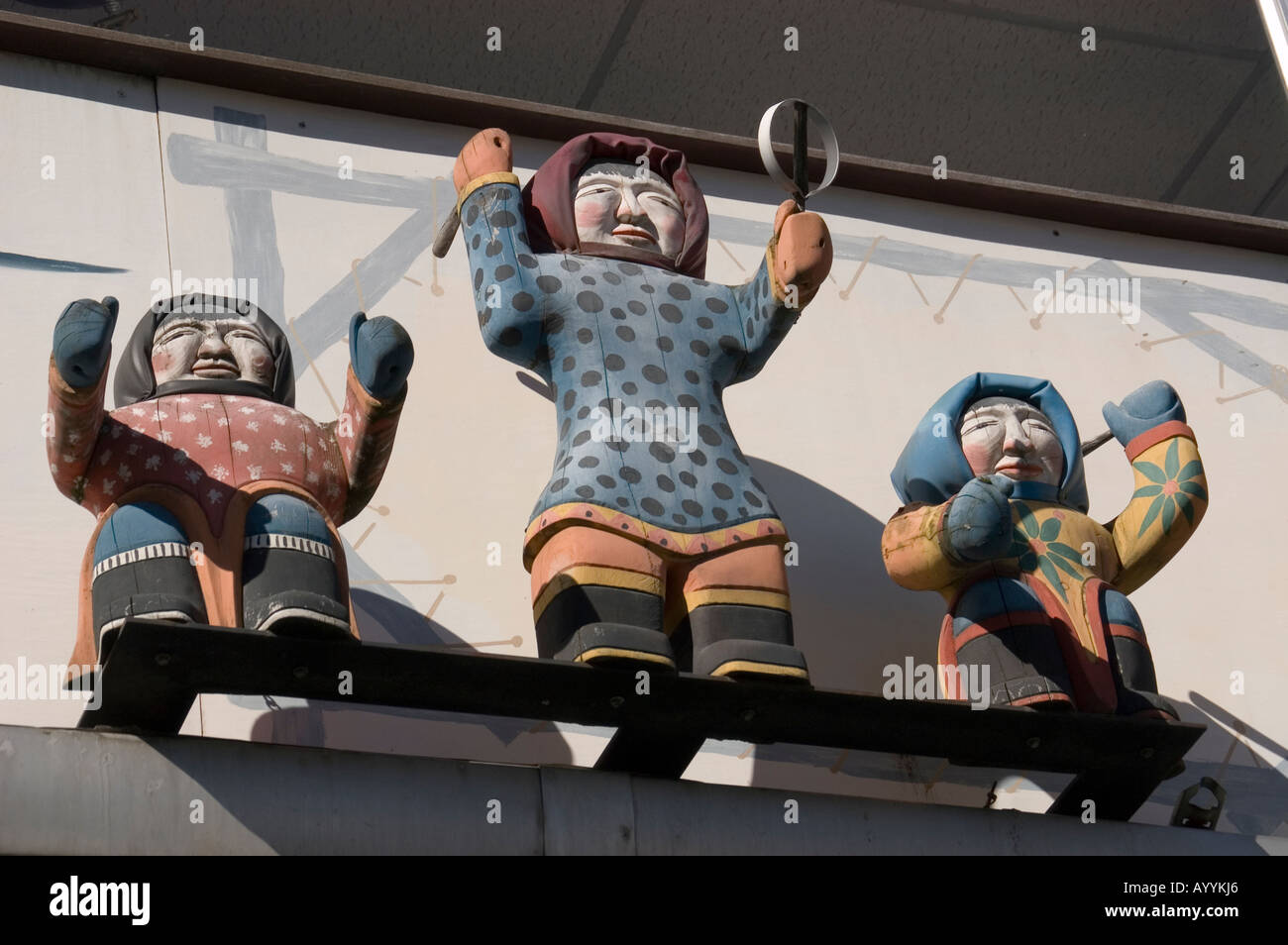 Carvings of Alaskan Natives advertising gift shop Anchorage Alaska No property release - Stock Image