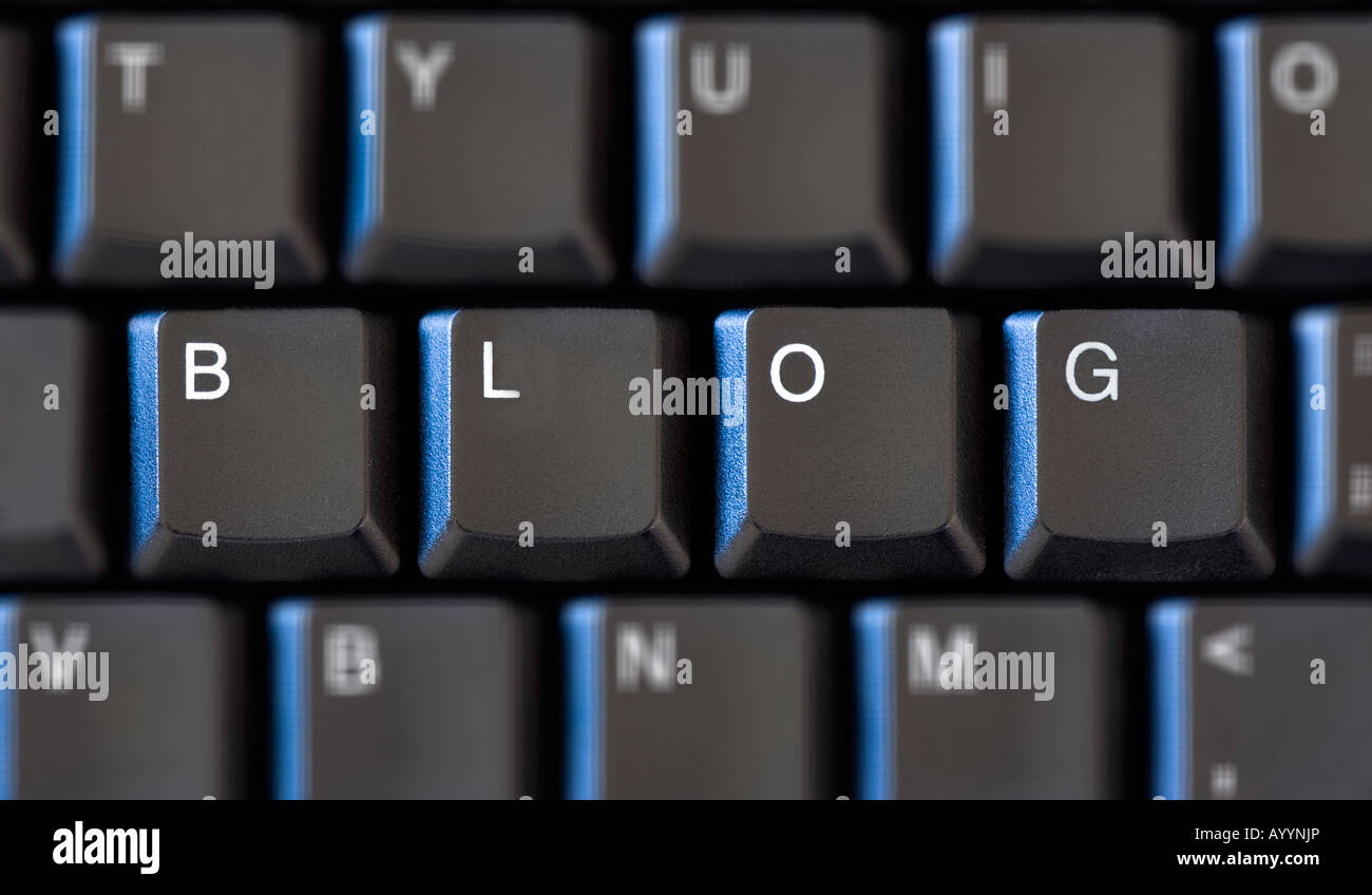 Keys on a computer keyboard spelling the word 'Blog' with the other keys slightly blurred - Stock Image