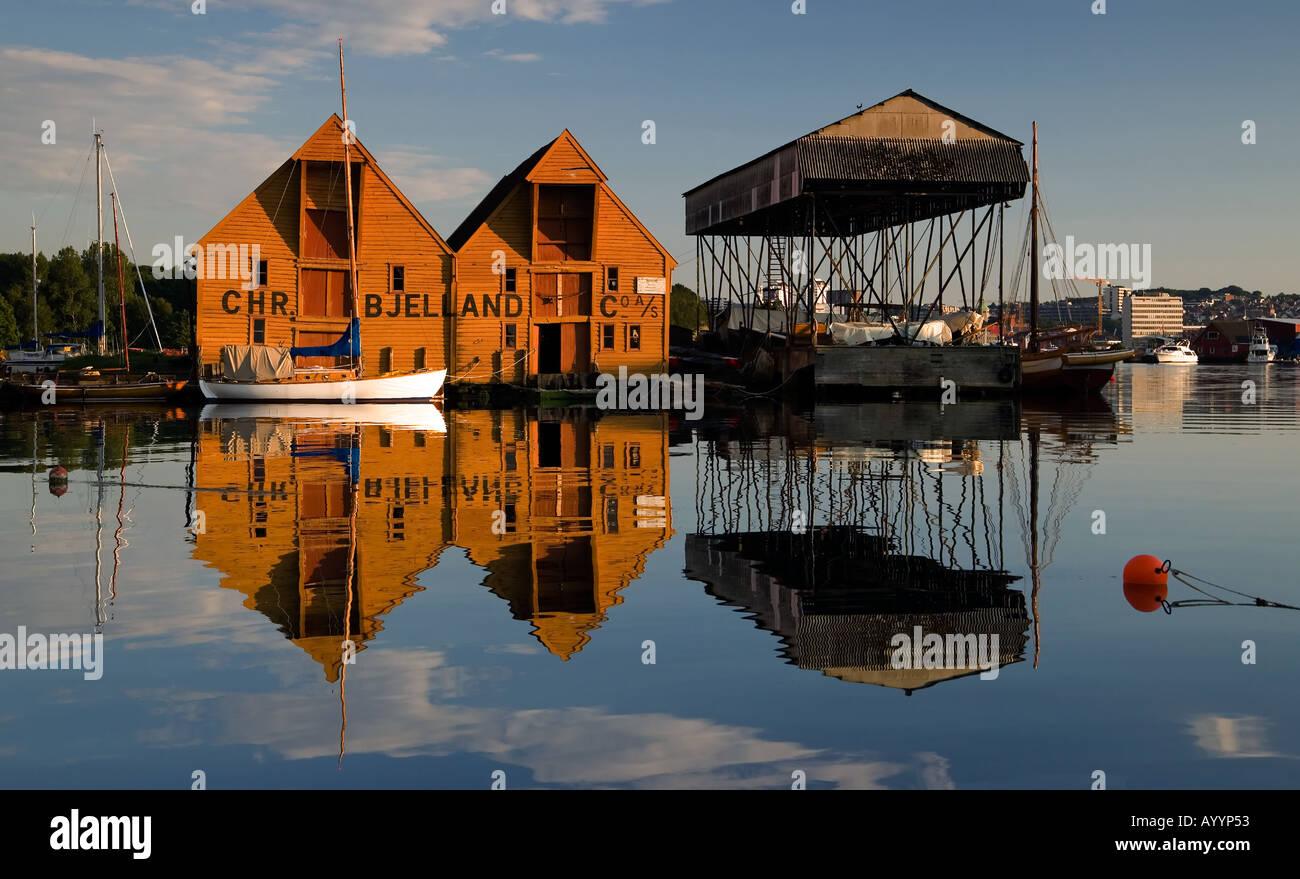Old boathouses Stavanger - Stock Image