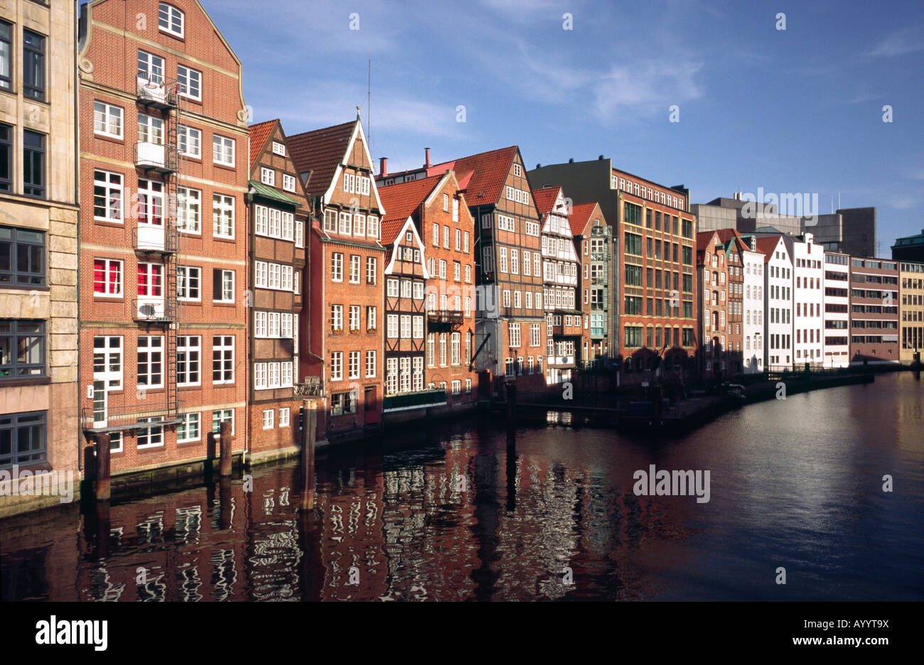 April 13, 2008 - Historic Nikolaifleet in the German city of Hamburg. The port of Hamburg started its development Stock Photo