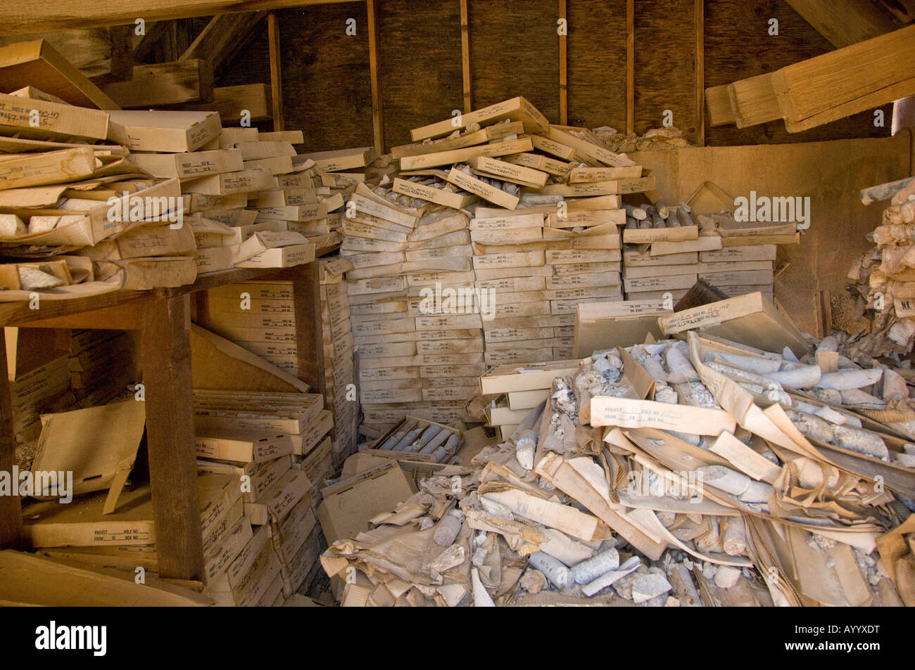 Boxes of core samples from a mining operation - Stock Image