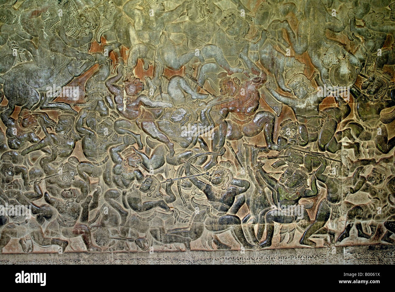 Cambodia, Angkor Wat, early 12th century. Battle scene. Eastern gallery. - Stock Image