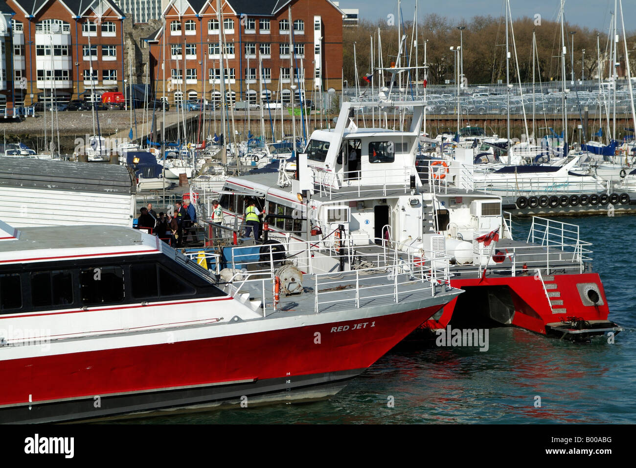 Red Jet Catamarans operated by Red Funnel Company at Town Quay Southampton - Stock Image