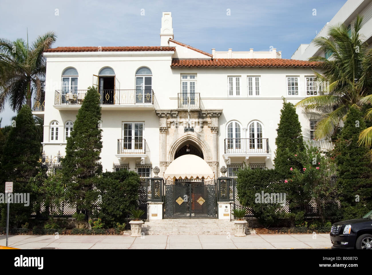 Casa Casuarina the former home of Gianni Versace on Ocean Drive is now an exclusive hotel Miami, Florida USA - Stock Image