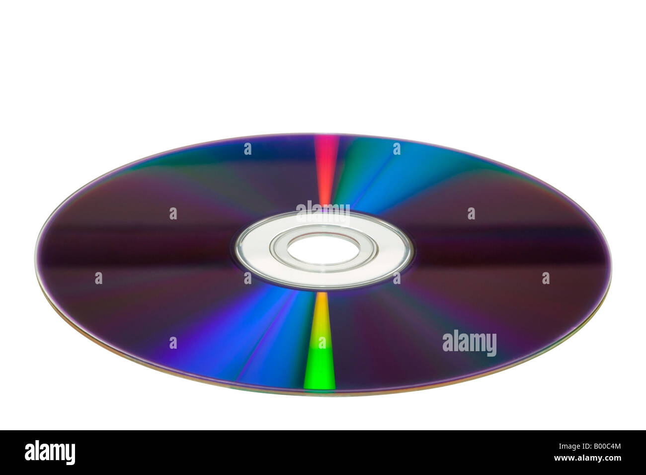 DVD at a slight angle isolated on a white background - Stock Image