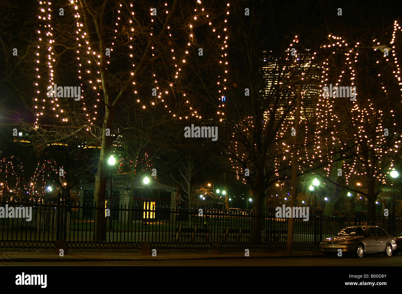 Boston Christmas Lights.Christmas Lights In The Trees Of Boston Common Stock Photo