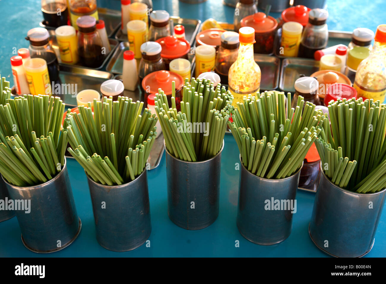 Chopsticks and condiments in a Chinese seafood restaurant Sok Kwu Wan Lamma Island Hong Kong - Stock Image