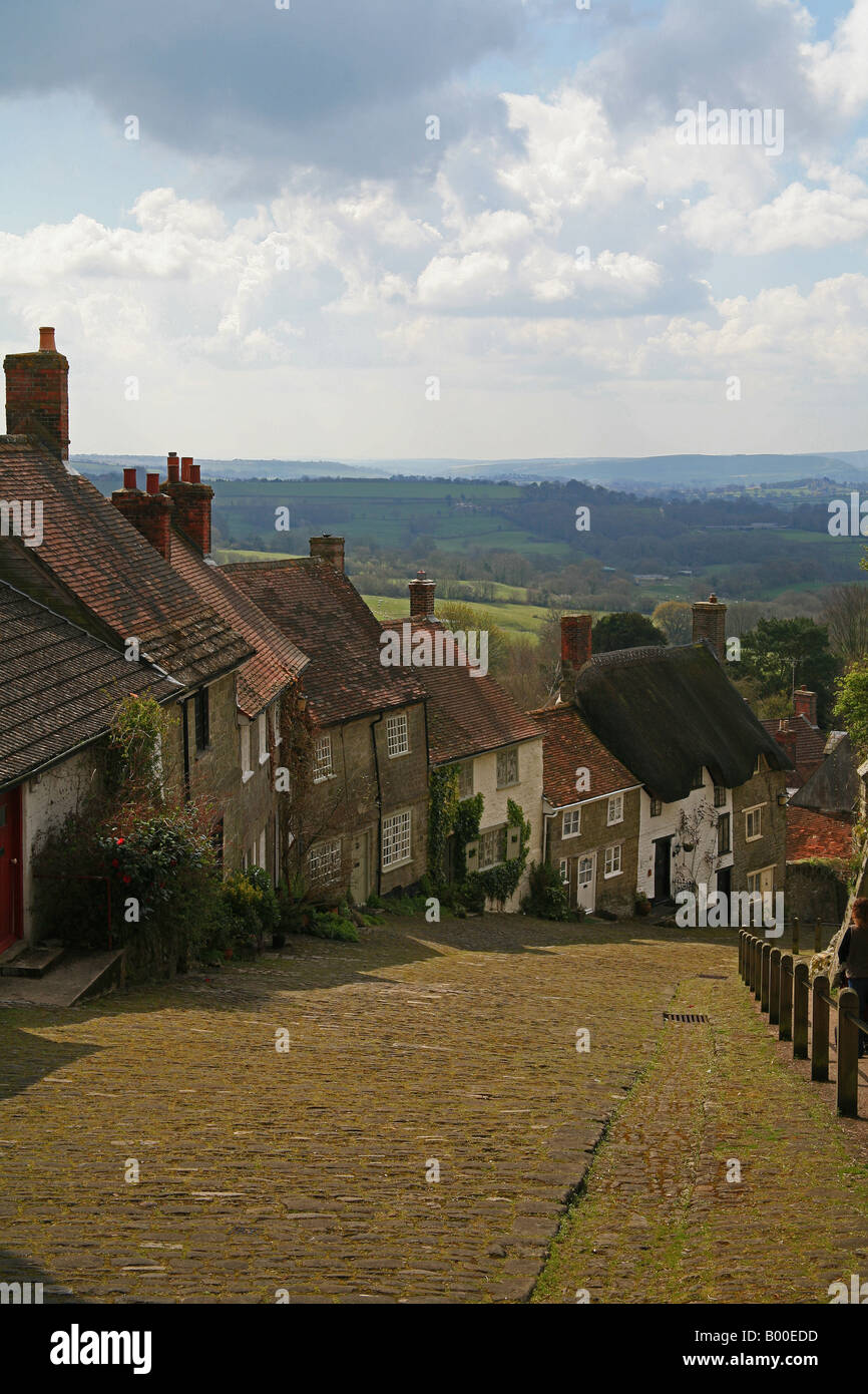 Looking down Gold Hill Shaftesbury Dorset UK - Stock Image
