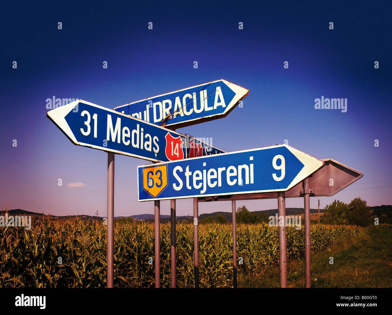 TRAFFIC SIGNS. TRANSYLVANIA. ROMANIA Stock Photo