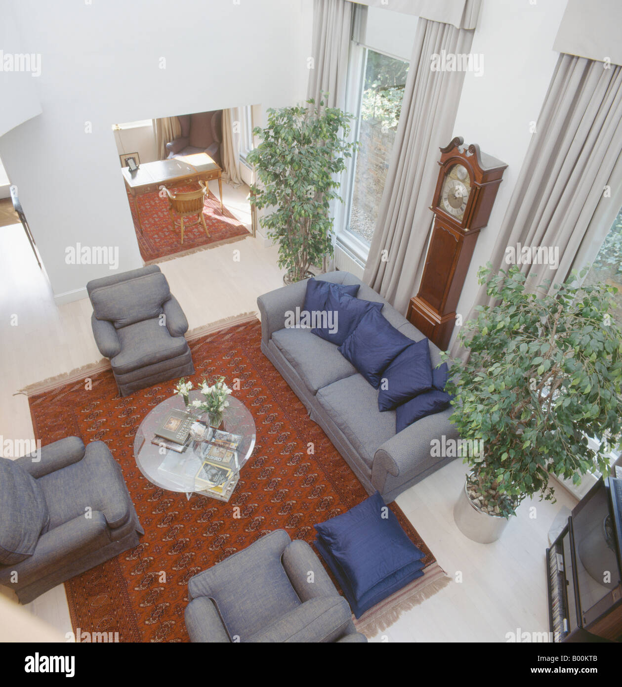 Aerial View Of Eighties Living Room With Gray Sofa And Armchairs And
