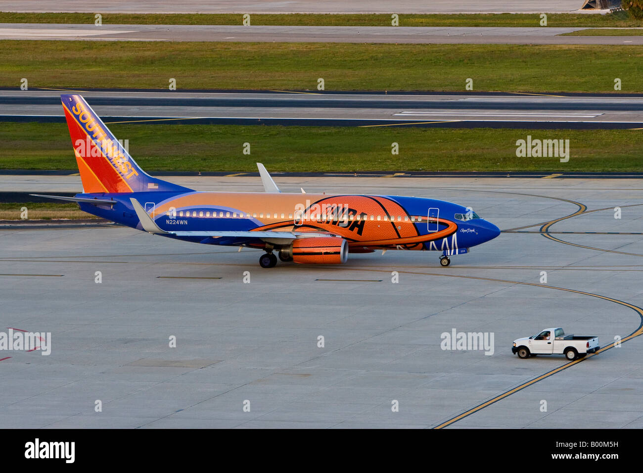 9bc02ee558a7 Southwest Airlines NBA Decorated Aircraft on the Tarmac at Tampa  International Airport in Tampa Florida USA