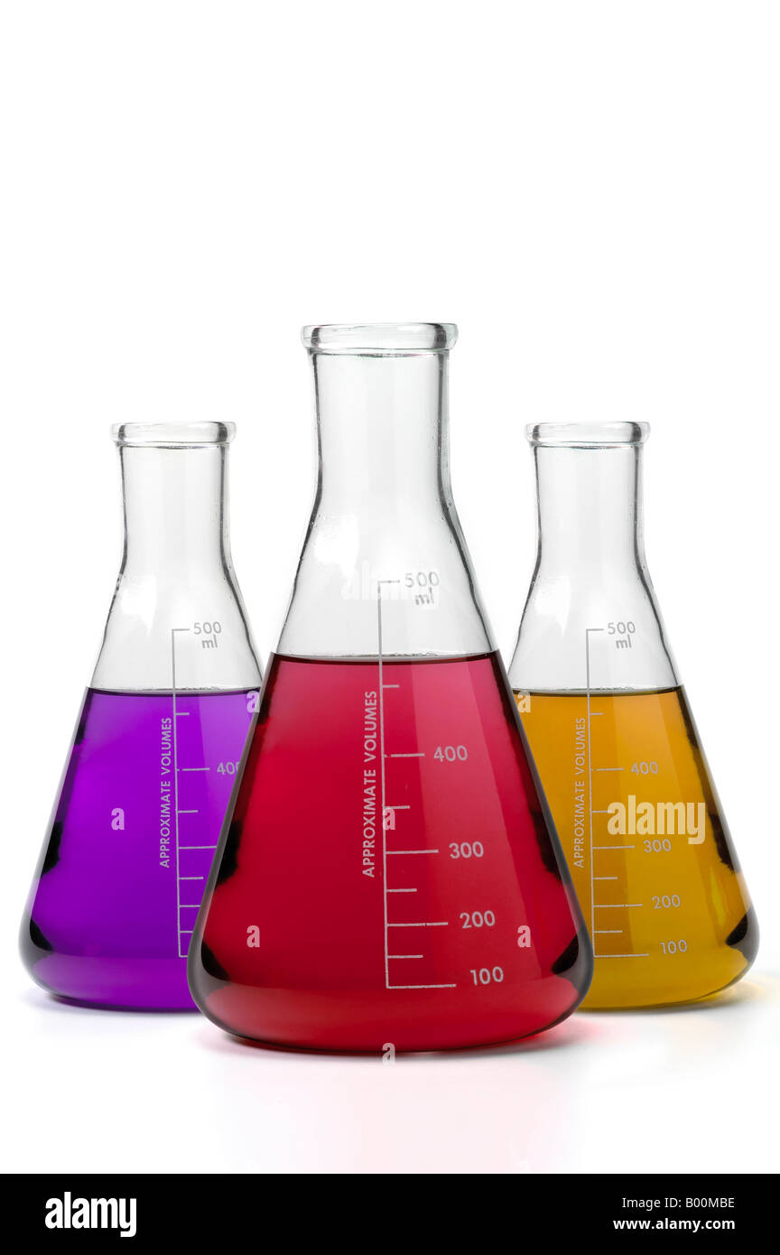 Three Beakers With Colorful Liquids On White Background - Stock Image