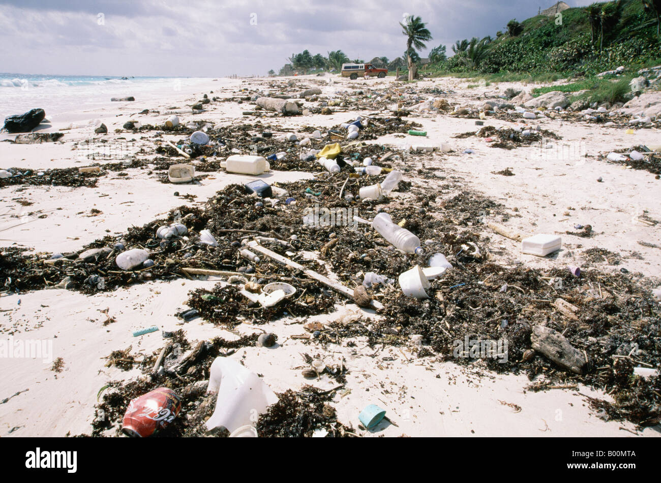 Rubbish on the beach tulum quintana roo mexico - Stock Image