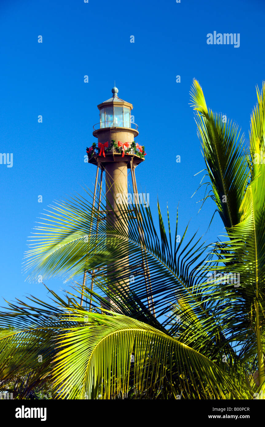 the sanibel island lighthouse with christmas decorations sanibel island florida usa stock image