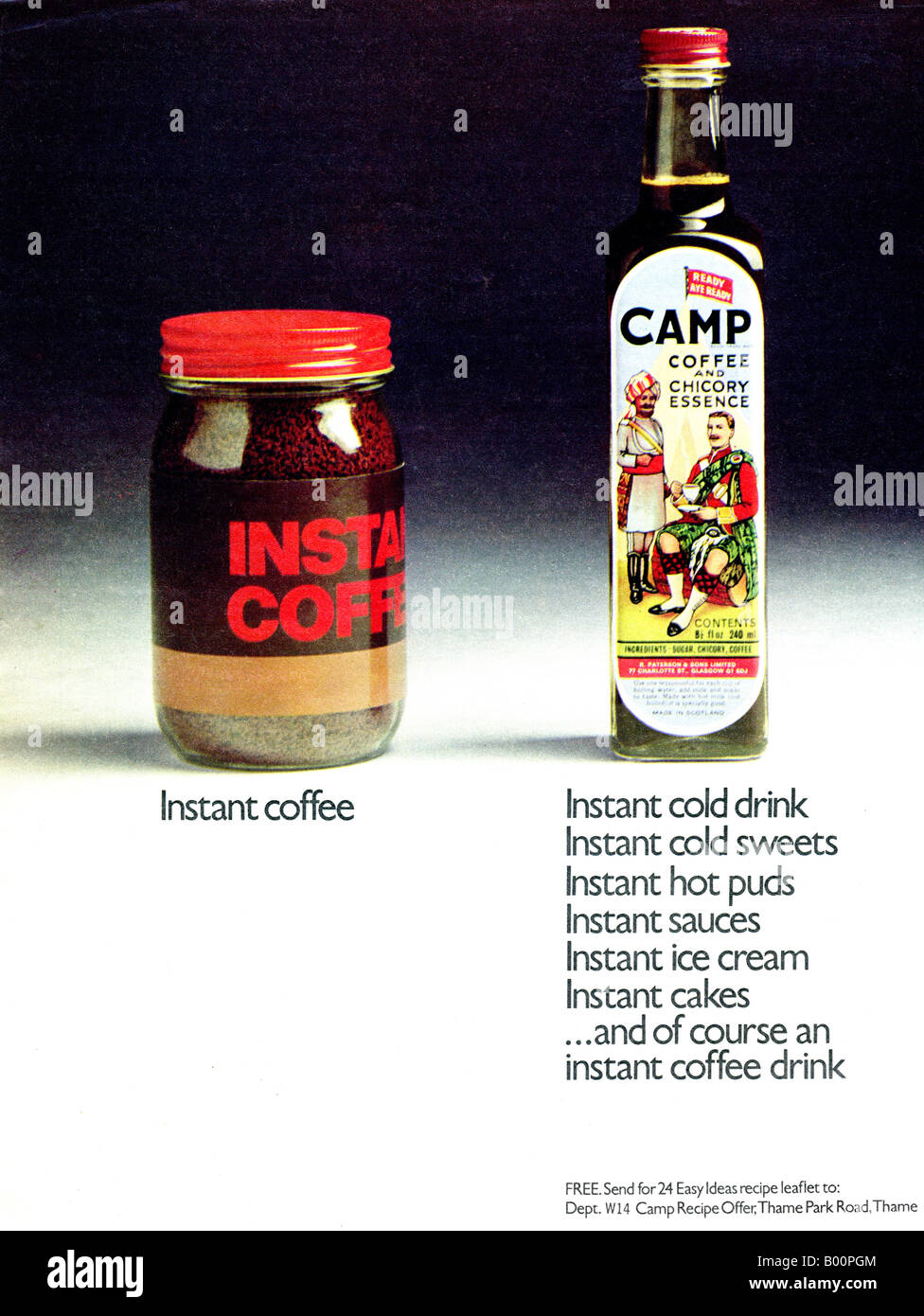 1970s magazine advertisement for Camp Coffee and Chicory Essence Drink      1973 FOR EDITORIAL USE ONLY - Stock Image