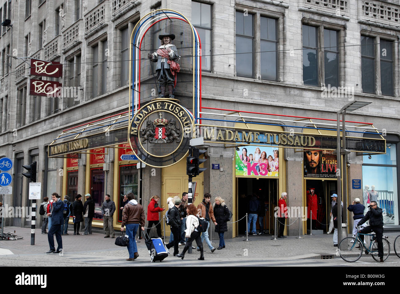 madame tussaud a popular attraction dam square amsterdam netherlands north holland europe - Stock Image
