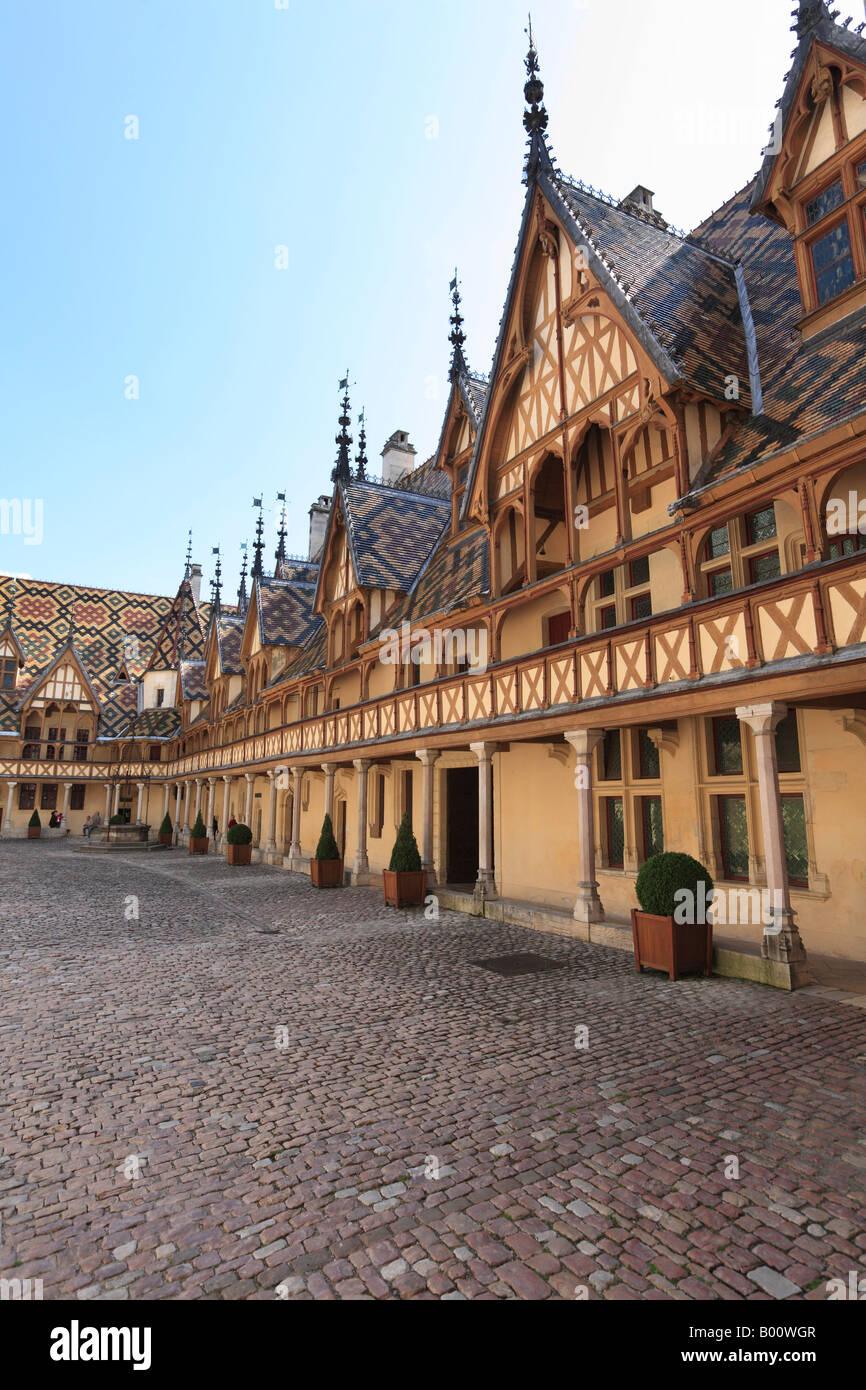 Historic Hospital at Beaune, Burgundy, France - Stock Image