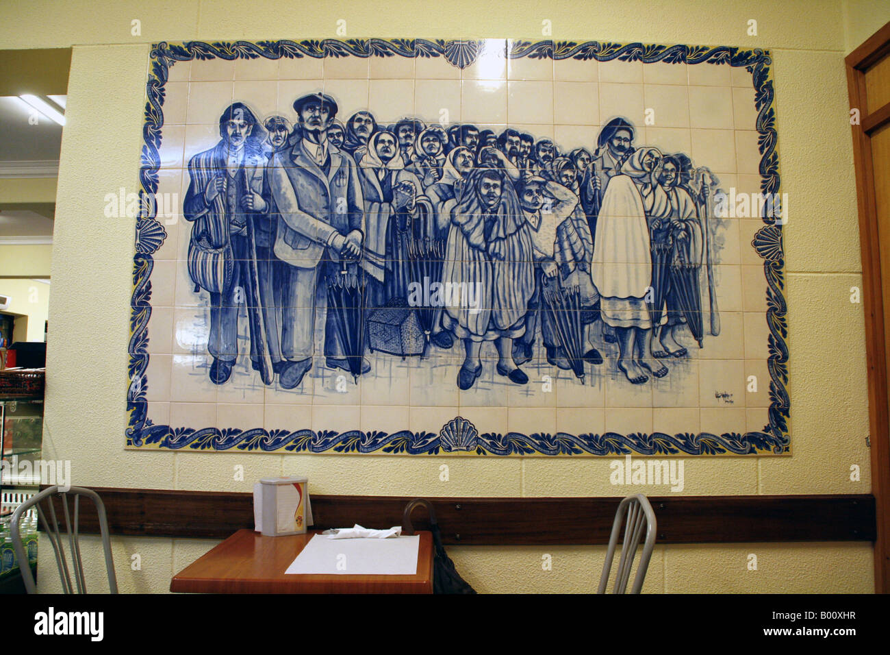 Tiling in traditional Portuguese azulejos style depciting the apparitions of Our Lady of Fatima, Portugal - Stock Image