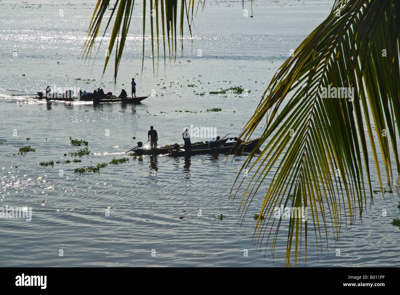 Peru, Amazon, Amazon River. Ferryboats carrying passengers across the Amazon River. - Stock Image