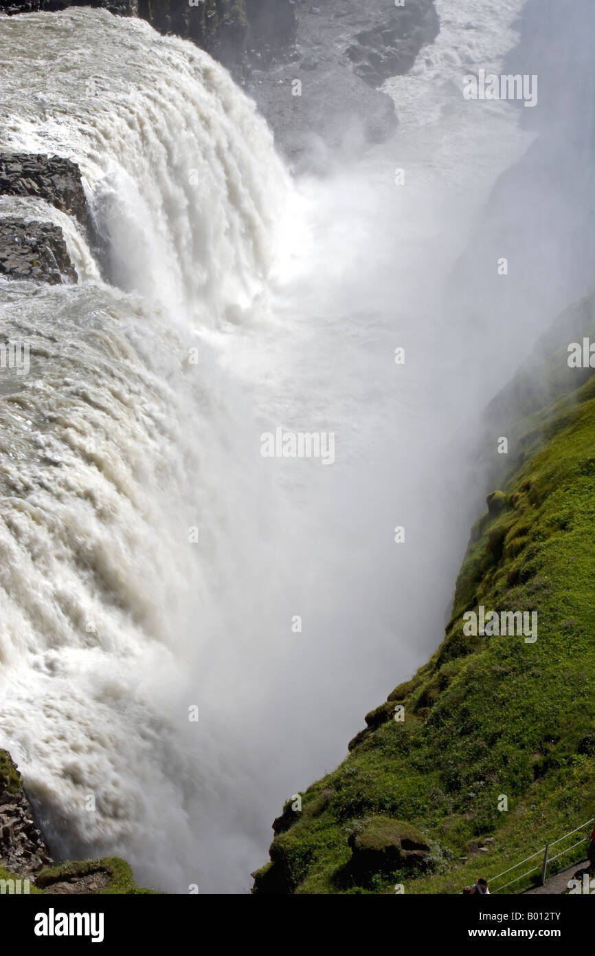 Iceland. Gullfoss (Golden Falls) is a magnificient 32m high double waterfall on the White River (Hvíta). - Stock Image