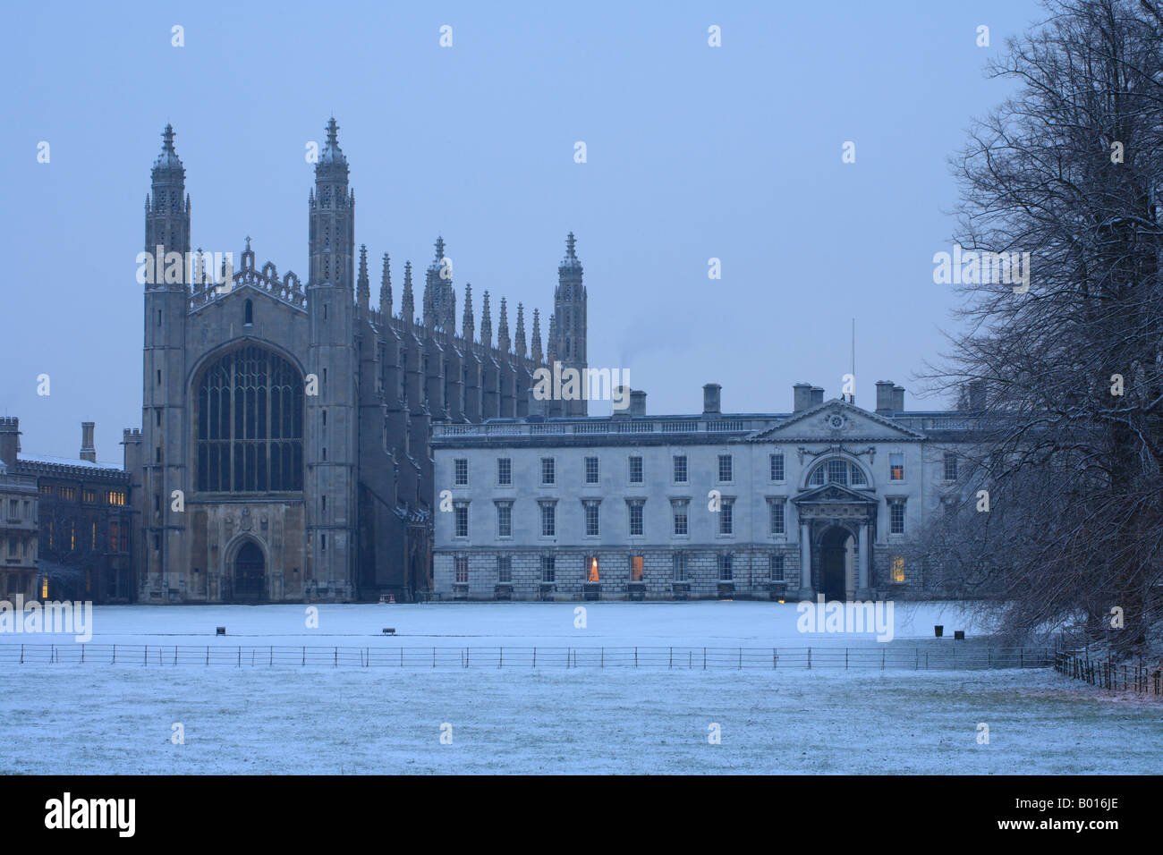 'Kings College Cambridge University' on a cold frosty 'winter morning' - Stock Image